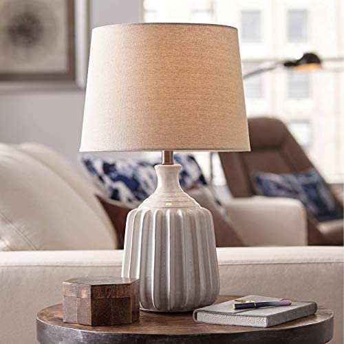 Logan Mid Century Modern Contemporary Accent Table Lamp Ribbed Ceramic Glossy White Oatmeal product image