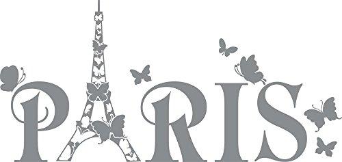 GRAZDesign Wandtattoo Paris Eiffelturm Schmetterling Wand-Deko mit Selbstklebender Folie (63x30cm//074 Mittelgrau)