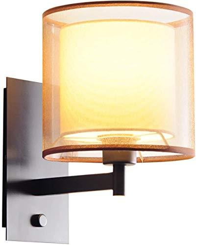 Double Fabric lampenkap wandlamp, E27 fitting, Modern Minimalistisch Amerikaanse binnenverlichting, for woon/eetkamer/slaapkamer