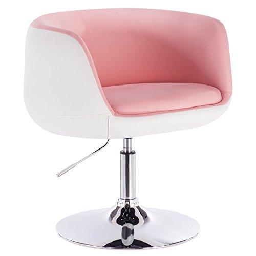WOLTU® BH42rsw-1 1 x Barsessel Loungesessel mit Armlehne Kunstleder 2 farbig Rosa+Weiss