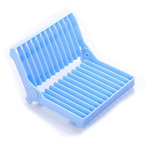Bestonzon Egouttoir Pliable Égouttoir à vaisselle, plastique Séchoir support (Bleu)