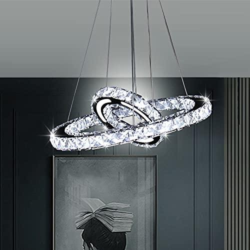 Moderna lámpara de araña para el techo de la niña o el dormitorio de cristal, con diseño acrílico, 2 anillos, para el baño, la entrada, el salón, el comedor