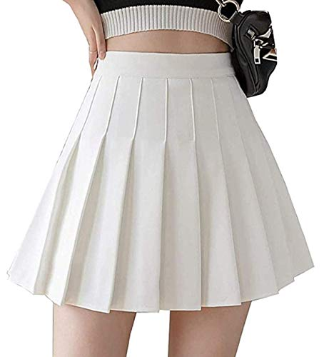 Girls Women's High Waisted Pleated Skater Tennis Skirt School Uniform Skirts with Lining Shorts(Solid White,M)