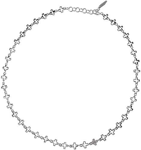 ZHIFUBA Co.,Ltd Collar Collar 1pc Retro Plata de Ley 925 Cruz Hueca Abierta Religión Collar Pulsera Conjunto Conjuntos de Joyas Collar