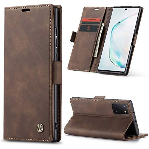 AKC Cover Compatibile per Samsung Galaxy Note10 lite/A81 Custodia Pelle Portafoglio con Supporto Flip Magnetica Caso Anti-Slip Flip Pieghevole-caffè
