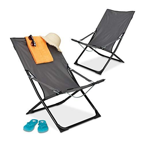 Relaxdays Juego de 2 tumbonas Plegables, con Respaldo Alto, Silla de Camping con reposabrazos, para jardín, balcón, 85 x 61 x 85 cm, Color Gris