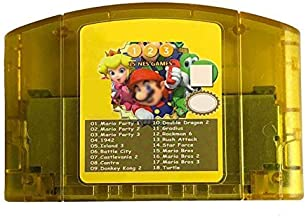 18 Games in 1 Game Cartridge for Nintendo N64 with Mario Party 1 2 3 and 15 NES Edition Support Game Multicart Save Memory...