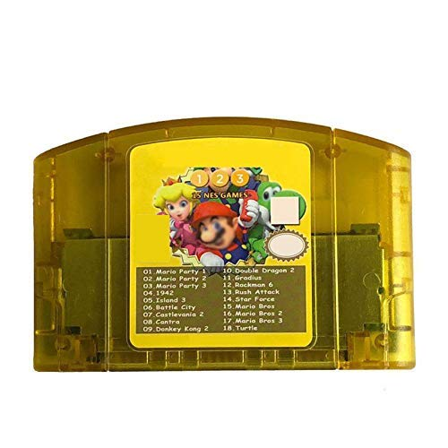 18 Games in 1 Game Cartridge for Nintendo N64 with Mario Party 1 2 3 and 15 NES Edition Support Game Multicart Save Memory Card(US Version)