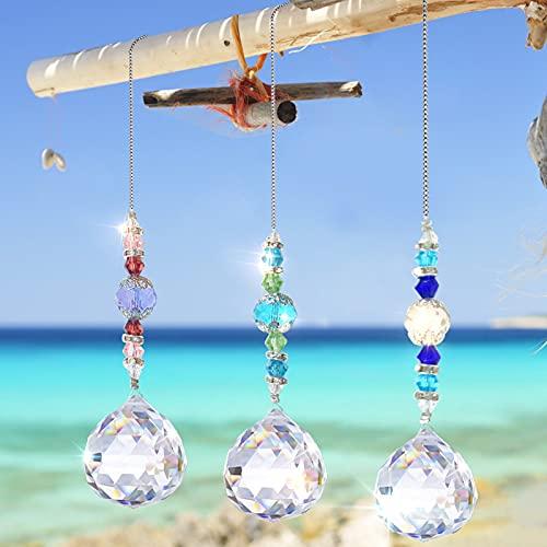 Cristal arcoíris,Colgantes de Cristal,Cristal Prisma,Cristal Colgante para Ventana,Prisma Cristal,Colgante de Ventana Cristal,Bola de Cristal Colgante de Cristal(Transparente-3 Piezas)