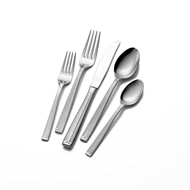 Mikasa Meridian Frost 65-Piece Flatware Set with Deluxe Caddy, Service for 12