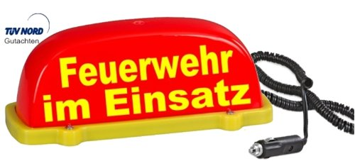 PACO Deutschland e.K. Dachschild City - leuchtrot - Feuerwehr im Einsatz LED Blinklicht und Dauerlicht umschaltbar Dachaufsetzer mit TÜV Gutachten