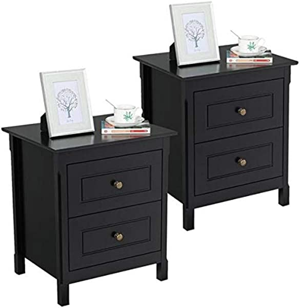 Yaheetech 2pcs Nightstand Bedside Table With 2 Storage Drawers Coffee Table End Side Tables For Bedroom