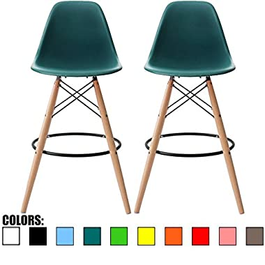 2xhome - Set of Two (2) - Teal - 28  Seat Height Eames Chair Style DSW Molded Plastic Bar Stool Modern Barstool Counter Stools with backs and armless Natural Legs Wood Eiffel Legs Dowel-Leg