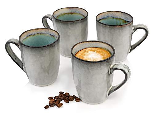 Sänger Kaffeebecher Set Capri 4 teiliges Becher Set für 4 Personen aus Steingut, Tee-Becher Füllmenge: 350 ml, erweiterbar, mit Henkel, Alltag, besonderes Frühstück, Brunch, Outdoor Tassen Set