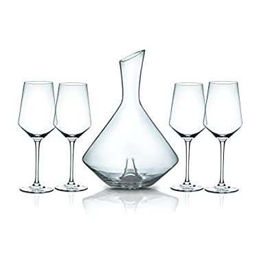 Miko Wine Decanter With 4 Wine Glasses, Hand Blown 100% Lead Free Crystal Wine Decanter Set (Sphere/Indent)