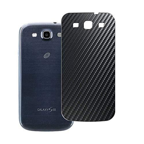 VacFun 2 Piezas Protector de pantalla Posterior, compatible con Samsung Galaxy S3 S III / I9300 I9308, Película de Trasera de Fibra de carbono negra
