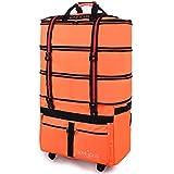 [YOYOオリジナル] 超大容量 キャリーバッグ 72リットルから157リットルまで4段階拡張 静音5輪キャスター付き 沢山のポケットを搭載したカスタムモデル ジッパー可変式スーツケース 国内小旅行からビジネス、長期海外旅行までこれ1つで対応可能 キャンプ/災害時避難用/防災グッズ用バッグとしても最適 100L/150L 高さ90cm超のトールサイズ キャリーケース 旅行かばん ボストンバッグ (イタリアンオレンジ)
