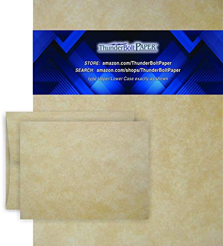 8.5 X 11 Paper Sheets with A-2 Envelopes - Aged Parchment - 50 Sets - Fold Letter Size Text in Fourth to Fit in Envelopes - Matching Pack - Invitations, Greeting, Thank You, Notes, Holidays