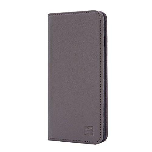 32nd Klassische Series - Lederhülle Hülle Cover für Apple iPhone 7, 8 und SE (2020), Echtleder Hülle Entwurf gemacht Mit Kartensteckplatz, Magnetisch & Standfuß - Grau