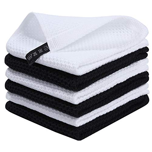 Homaxy 100% Cotton Waffle Weave Kitchen Dish Cloths, Ultra Soft Absorbent Quick Drying Dish Towels, 12x12 Inches, 6-Pack, White and Black