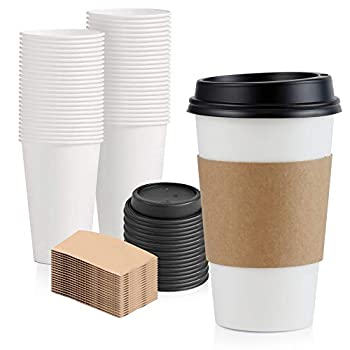 [50 Pack] 16 oz Hot Beverage Disposable White Paper Coffee Cup with Black Dome Lid and Kraft Sleeve Combo Medium Grande