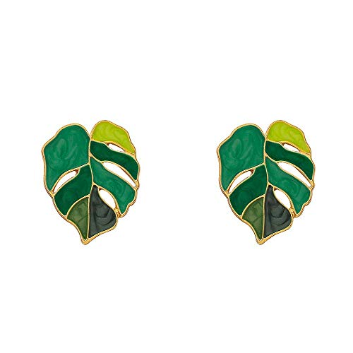 jiao Tropical Plant Shape Green Enamel Leaf Drop Earrings Monstera Leaf Pendant Earrings for Women Summer Party Jewelry Gift AsThePicture