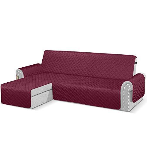 TAOCOCO Sofabezug mit Halbinsel, wasserdicht, Armlehne, links, Schutz für Sofa, 3-Sitzer + 3-Sitzer, Burgunderrot