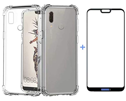 AILZH Funda Huawei P20 Lite Transparente Silicona TPU 360 Grados Carcasa Case Cover Flexible Antideslizante Teléfono Protection para Huawei P20 Lite+5D Pantalla de Vidrio Templado