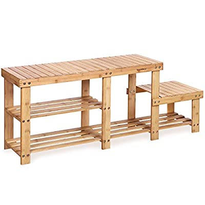 SONGMICS Bamboo Storage Bench with High and Low Levels for Adult and Child
