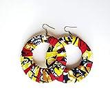 Boucles d'oreilles africaines originales tissu wax bijoux coloré fait main pagne, écologique écoresponsable zéro déchet recyclé fabriqué écologiquement crochets argent sterling 925 accessoire bois