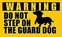 MAGNET 3x5インチ DACHSHUND Do Not Step On Guard 犬用ステッカー - デカール 犬 面白い 小型 ダチ 磁気 ビニール バンパーステッカー あらゆる金属 冷蔵庫 車 サイン