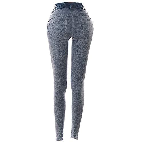 WAVENI Pantalones de Mujer Ajustados elásticos de Las Caderas Pantalones de Yoga (Color : Light Brown, Size : XL)