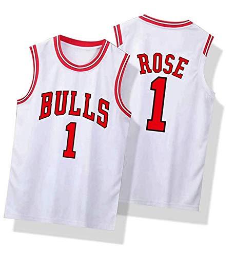 paglutaw Hombres Rose al aire libre Baloncesto Bull Entrenamiento Jerseys Transpirable NO.1 Blanco Sportswear