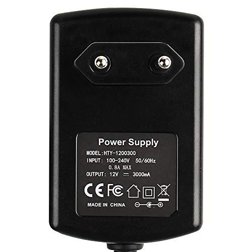 SUPERNIGHT AC Adapter 100-240v 50-60hz zu DC Stromversorgung 12V 3A 36W Power Supply Adapter Ladegerät Netzteil für LED RGB Strip Streifen Laufwerke Festplatten Router, Euro Stecker