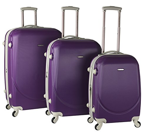 TPRC 3 Piece 'Barnet Collection' Hardside Expandable Spinner Luggage Set, Purple Color Option