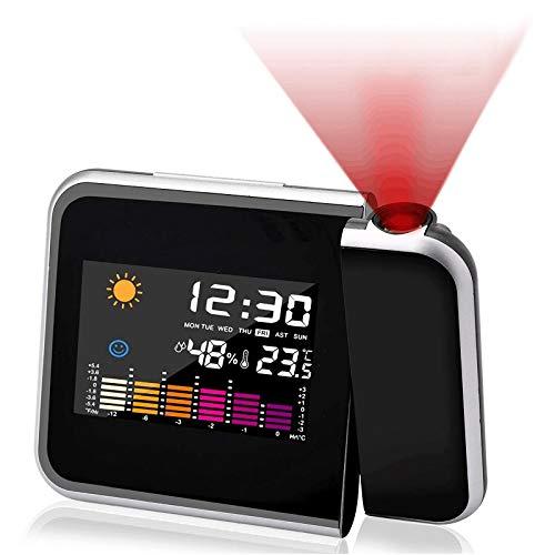 ASANMU Wecker mit Projektion, LED Projektionswecker USB Aufladbar Projektion Wecker Digital/Taktgeber Temperaturanzeige/Hygrometer/Uhrzeit & Datumsanzeige/LCD Displaybeleuchtung/LED Backlight/Snooze