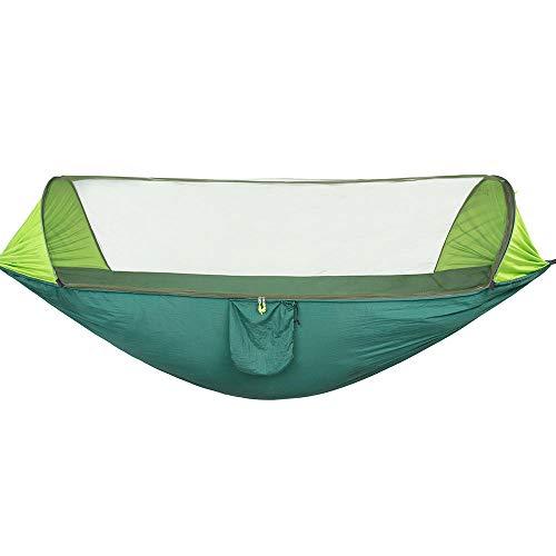 Ligero Doble Hamaca Camping con Bolsa De Almacenamiento + Correa,300kg de Capacidad de Carga (290x140cm) Verde Columpios Exterior para Acampar Al Aire Libre
