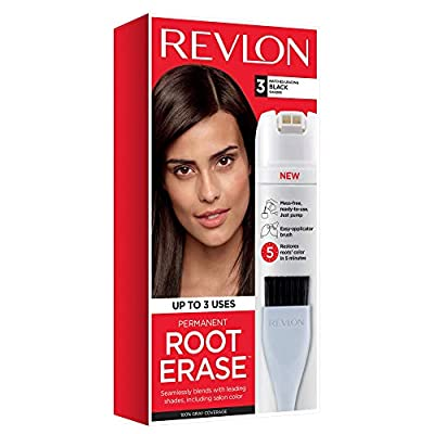 Revlon Root Erase Permanent Hair Color, At-Home Root Touchup Hair Dye with Applicator Brush for Multiple Use, 100% Gray Coverage