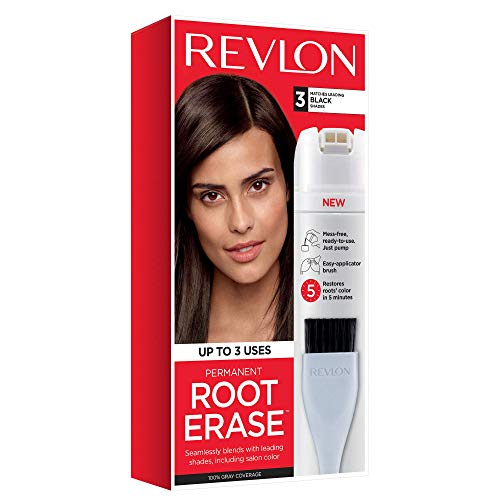 Revlon Root Erase Permanent Hair Color, At-Home Root Touchup Hair Dye with Applicator Brush for Multiple Use, 100% Gray Coverage, Black (3), 3.2 Fl Oz