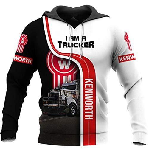 Sudaderas con Capucha para Hombre Love Truck Driver Sudadera Harajuku con Estampado 3D Chaqueta Hip Hop Unisex Beige 5XL