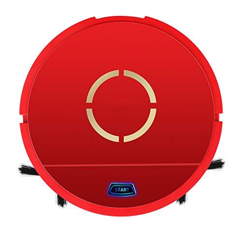 VLERHH Robot Aspirador, Robot De Limpieza Automática, Alta Succión con Cepillo Batidor, para Piso De Madera Dura Alfombra Azulejo Cuidado del Cabello para Mascotas,Rojo