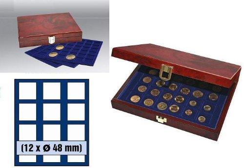 SAFE WURZELHOLZ MÜNZKASSETTEN PREMIUM 36 X US SILBER EAGLE DOLLAR IN CAPS 41 NR. 5783-48 - 3 Tableaus 6348 für je 12 x Münzen bis 48 MM o. bis Münzkapseln 41 - Ideal für Canada Meaple Leaf - 5 Mark Kaiserreich - MAHAGONIFARBENDE - Edle Lackholz-Kassette in Wurzelholz - Optik