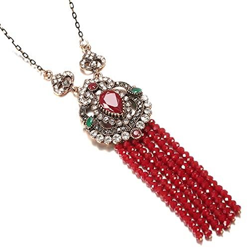 YUANBOO Collar Colgante de la Borla Larga de Piedra Natural for Las Mujeres Antiguo Color de Oro Vintage Cristal Rojo Étnico Joyería Nupcial (Length : 67cm, Metal Color : Red)