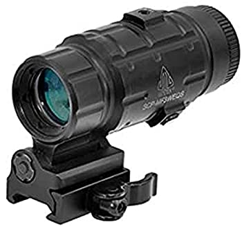 UTG 3X Magnifier with Flip-to-side QD Mount W/E Adjustable  Black