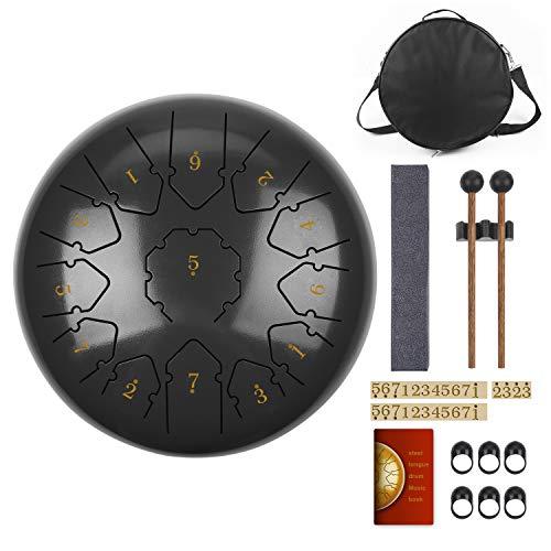 KUDOUT Tambor de Lengüetas,C Chiave 12 PulgadasTongue Drum,13 Notas Percusión Tambor de la Lengua con Bolsa de Viaje Acolchada, par de mazos,púas de Dedo (Electrónica)