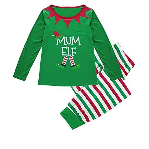 Padaleks Conjunto de pijama de manga larga para mujer, con parte superior y pantalones, ropa de dormir de 2 piezas para bebé, niños y adultos