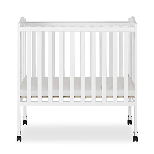 Dream On Me 2 in 1 Lightweight Folding Portable Stationary Side Crib, White, Mini Crib