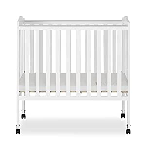 Dream On Me 2-in-1 Lightweight Folding Portable Stationary Side Crib in White, Greenguard Gold Certified