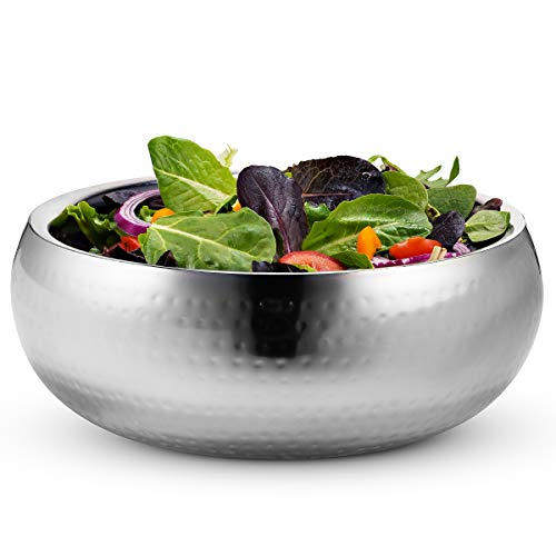 Double Wall Serving Bowl, by Kook, Hammered Style, Stainless Steel, Soup, Cooked Food, Salads, Fruit, 11 Inch