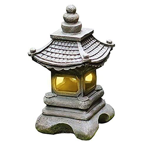 Estilo japonés al aire libre Tachi-Gata Solar Zen Jardín Luces Linterna Pagoda Luz Solar Piso Jardín Lámpara de resina impermeable Estatua Granja Balcón Lámpara de decoración creativa,17*34cm